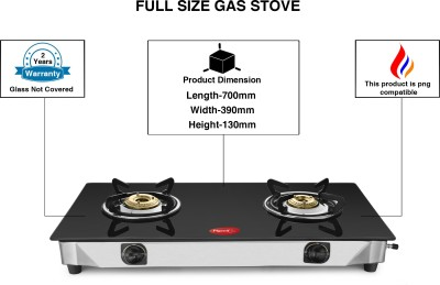 Pigeon Full Size Sterling Blackline 2 Burner Glass Top Gas Stove Stainless Steel Steel, Glass Manual Gas Stove(2 Burners)