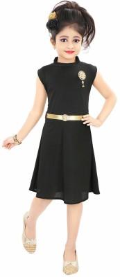 Style Junction Girls Midi/Knee Length Party Dress Black, Sleeveless Style Junction Kids' Dresses