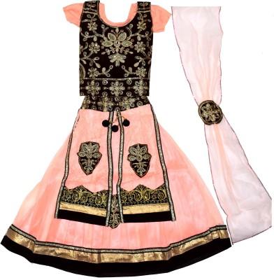 FARUK Girls Lehenga Choli Ethnic Wear Self Design Lehenga, Choli and Dupatta Set(Orange, Pack of 1)