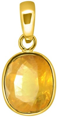 Tejvij and Sons 3.25 Ratti natural yellow sapphire ashthadhatu pendent with gold plated for men & women… Yellow Gold Sapphire Metal Pendant