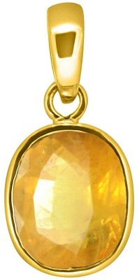 Tejvij and sons 6.25 ratti original yellow sapphire panchdhatu pendent with gold plated for men & women… Gold-plated Sapphire Metal Pendant