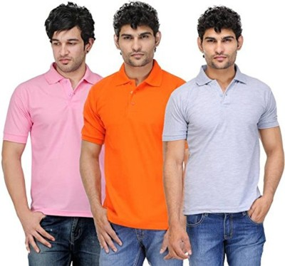 TNX Solid Men Polo Neck Multicolor T-Shirt(Pack of 3)
