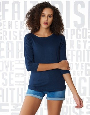 Metronaut Solid Women Henley Neck Dark Blue T Shirt Metronaut Women's T shirts