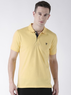 McHenry Solid Men Polo Neck Yellow T-Shirt
