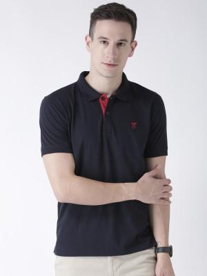 Club York Solid Men Polo Neck Dark Blue T-Shirt