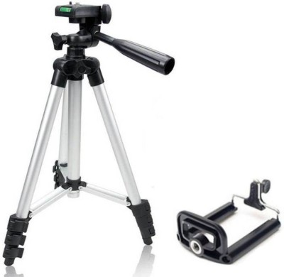 dirar Tripod - 3110 Portable & Foldable Camera - Mobile Tripod With Mobile Clip Holder Bracket , Fully Flexible Mount Cum Tripod , Standwith Three-dimensional Head & Quick Release Plate Only 150 gm + Black Carry Bag for Canon Nikon Sony Cameras Camcorders iPhone & Androids Tripod Kit (Silver, Suppor 1