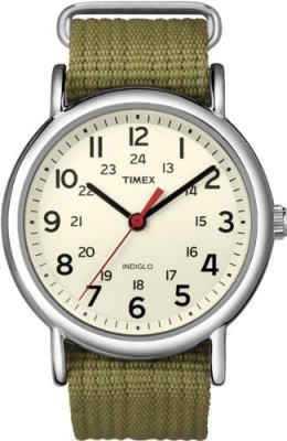 Timex Cream 5514 Timex Unisex T2N651 Weekender Olive Nylon Slip-Thru Strap Watch Watch  - For Men & Women  available at flipkart for Rs.4589