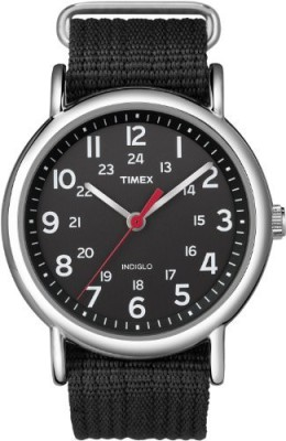 Timex Black 5511 Timex Unisex T2N647 Weekender Black Nylon Slip-Thru Strap Watch Watch  - For Men & Women  available at flipkart for Rs.4556