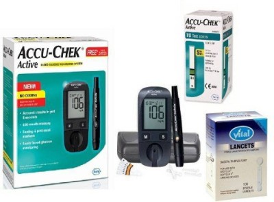 Accu-Chek Active 10 Strips with 100 lences Health Care Appliance Combo