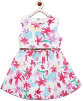 Bella Moda Girls Midi/Knee Length Casual Dress(Multicolor, Sleeveless)