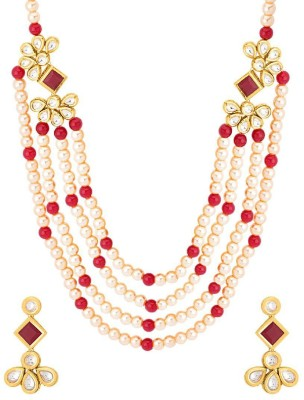 f054b75372ffa Voylla Nazaakat Gold Plated Red Pearl Rani Haar Necklace Yellow Gold Plated  Brass Necklace Set