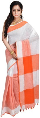 Avik Creations Solid, Applique, Paisley, Woven, Polka Print, Hand Painted, Striped, Printed, Checkered, Embellished, Plain, Self Design Sambalpuri Handloom Cotton, Pure Cotton, Khadi Saree(Orange, White) Flipkart