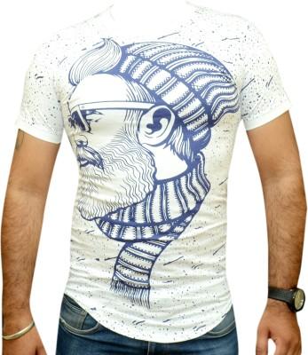 TNX Graphic Print Men's Round Neck White T-Shirt