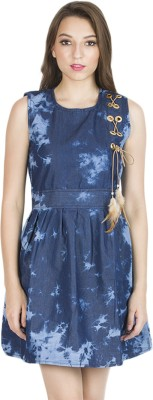KARMIC VISION Women Fit and Flare Blue Dress