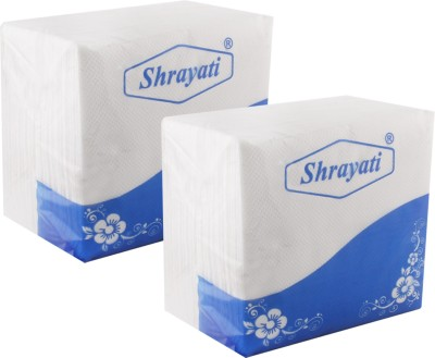 Shrayati Premium Paper Napkins : 1 Ply : Pack of 2 White Napkins(2 Sheets)