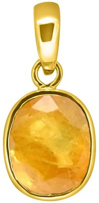 Tejvij and sons 6.25 ratti natural pukhraj loket pendent panchdhatu with gold plated for men & women… Gold-plated Sapphire Metal Pendant