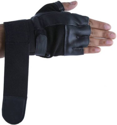 Cp Bigbasket Leather Gym & Fitness Gloves (Free Size, Black)