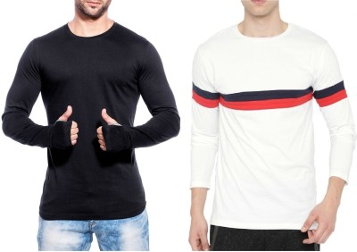 Wearza Striped, Solid Men's Round Neck Black, White T-Shirt(Pack of 2)