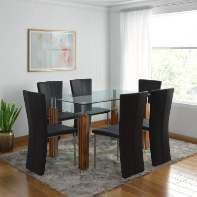 RoyalOak Iris Glass 6 Seater Dining Set  (Finish Color - Black,Brown)