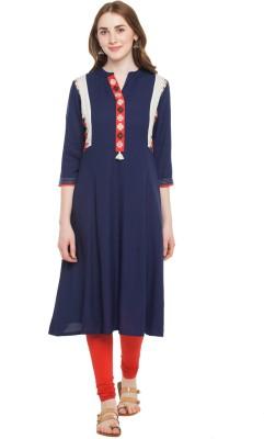 Rangmanch by Pantaloons Women Embroidered Flared Kurta(Dark Blue)