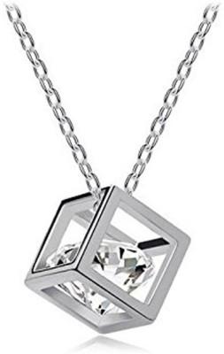 Gehna emerald square shape gemstone pendant in 925 sterling silver Silver Emerald Silver Pendant