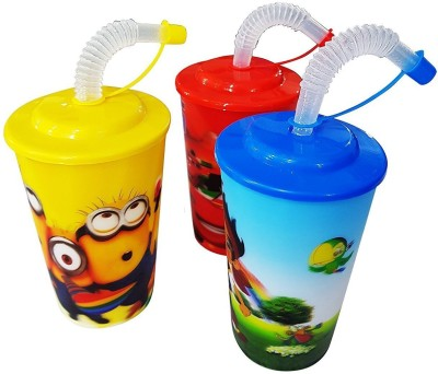 AASA Sipper Glass With Straw, Shaker Bottle With Straw For Kids (Set Of 3 Pcs )(Multicolor)