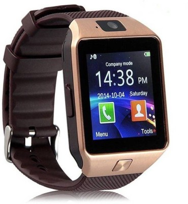 Enew DZ09-GOLD FNC7-X phone Gold Smartwatch(Brown Strap Free Size)