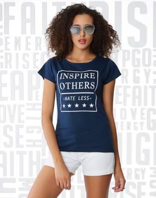 Metronaut Printed Women's Boat Neck Dark Blue T-Shirt