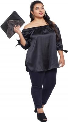 NuBella Casual 3/4th Sleeve Solid Women Black Top