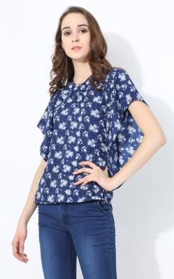 shaper Party Butterfly Sleeve Printed Women Blue Top shaper Women's Tops