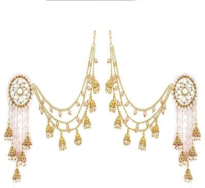 Zeneme Jewellery Traditional Stylish Gold Plated Polki & Pearl Bahubali Jhumki/Jhumka Earrings For Girls and Cubic Zirconia Alloy Jhumki Earring