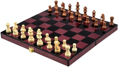 Cerasus Foldable Travel Chess Board Box In Rosewood Color with High Gloss Finish (BOG 048B) 2.03 cm Chess Board(Red)