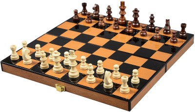 Cerasus Foldable Travel Chess Board Box Walnut Color with High Gloss Finish (BOG 048) 2.03 cm Chess Board(Brown)