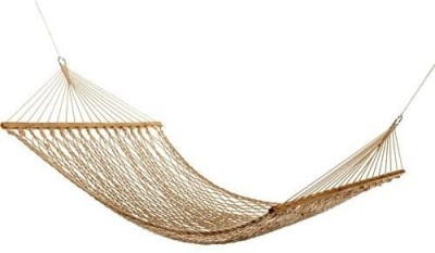 Inditradition Rope With Wooden Spreader Bars Cotton Hammock(Beige)
