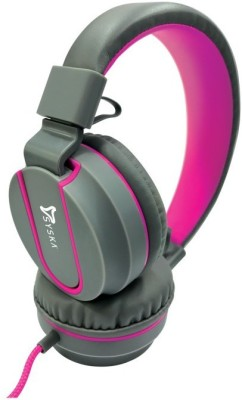 Syska Stereo Headphone Pop Wired Headset with Mic(Grey Pink, Over the Ear)