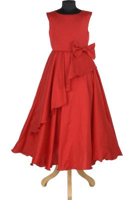 Purple Princess Elegant Floral print off shoulder dress Girls Maxi/Full Length Party Dress(Beige, Sleeveless)