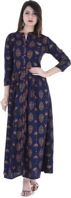 Stylum Festive & Party Printed Women Kurti(Blue, Gold)