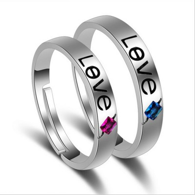 MYKI Beautiful & Hansome Extraordinary Valentine Couple Rings ( Adjustable Size ) Sterling Silver Swarovski Zirconia Sterling Silver, Gold Plated Ring Set