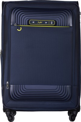 Skybags Quartz Spinner Soft Trolley 81 cm (Blue) Expandable  Check-in Luggage - 34 inch(Blue) at flipkart