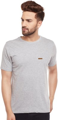 The Dry State Solid Men Round Neck Grey T-Shirt