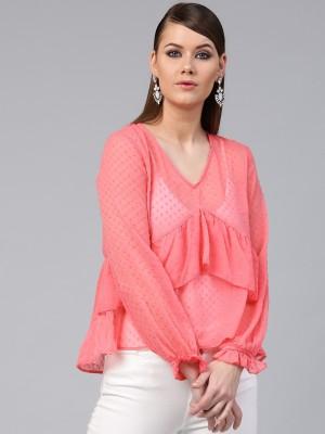 Sassafras Casual Full Sleeve Self Design Women Pink Top