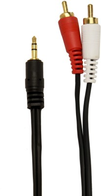 Prro TV out Cable High Quality 3.5 mm Stereo Audio Male to 2 RCA Male Cable 1.5 Meter_R3 Black, For TV, 1.5 m Prro Mobile Cables