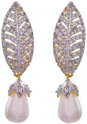 JFL-Jewellery For Less JFL - Ethnic Fusion Leaf Cz American Dazzling Diamond One Gram Gold Fish Hook Earrings for Girls & Women Diamond, Pearl Copper Dangle Earring