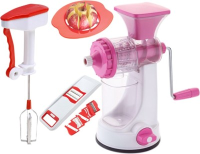 Vittamix Ultimate Combo Of Manual Juicer + Power Free hand Blender+ Apple Cutter+ 6-1 Slicer (Multi Colour,Pack of 4) Plastic Hand Juicer(Multicolor) at flipkart