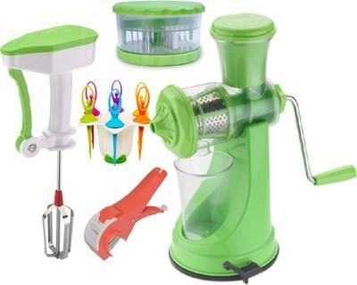 Vittamix Plastic Hand Juicer Combo Of Manual juicer+Power Free Blender+ Multi Crusher+ Veg Cutter+Fruit Fork (Pack Of 5, Multi Colour(Multicolor)