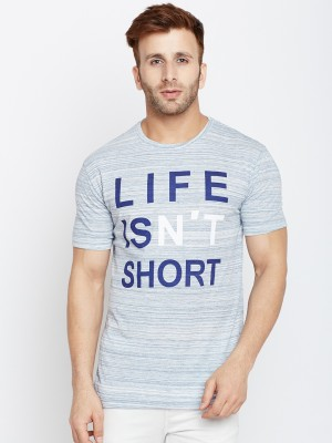 The Dry State Printed Men Round Neck Light Blue T-Shirt
