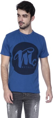 MotoCult Printed Men Round Neck Blue T-Shirt