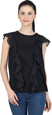 MissGudi Casual 3/4 Sleeve Printed Women White, Black Top