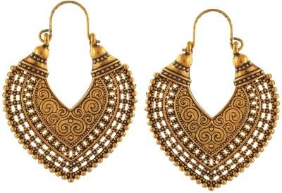 The Trendy Trendz Oxidised Golden Heart shape Earrings SEt Alloy, Metal Chandelier Earring