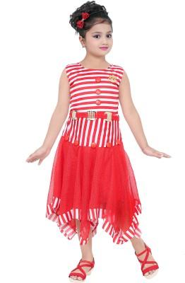 stylokids Girls Midi/Knee Length Casual Dress(Blue, Sleeveless)